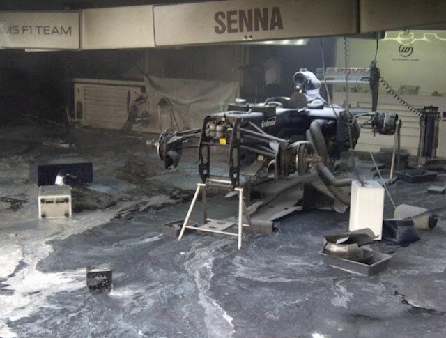 Williams F1 garage Senna car fire aftermath