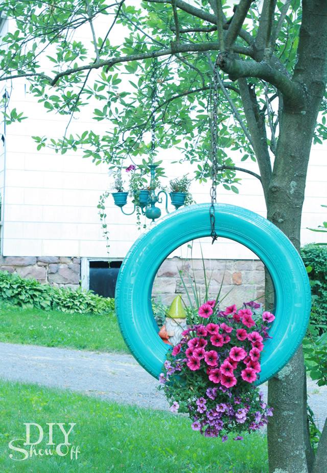 floreira com pneu decoração reciclada