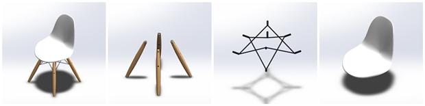 Partes de la silla eames dsw diseñadas en solidworks