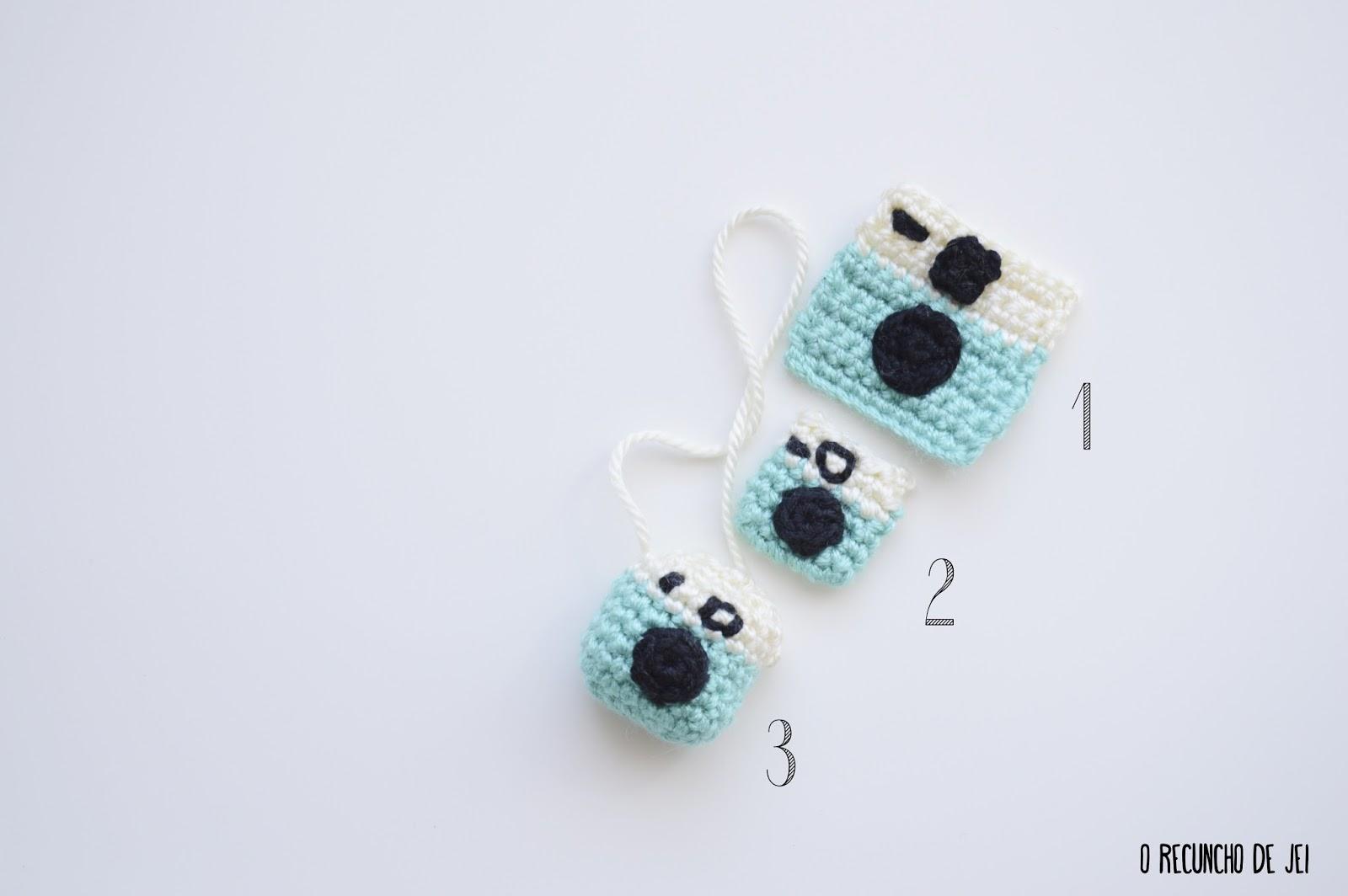 O Recuncho de Jei: 3 Patrones mini cámaras crochet