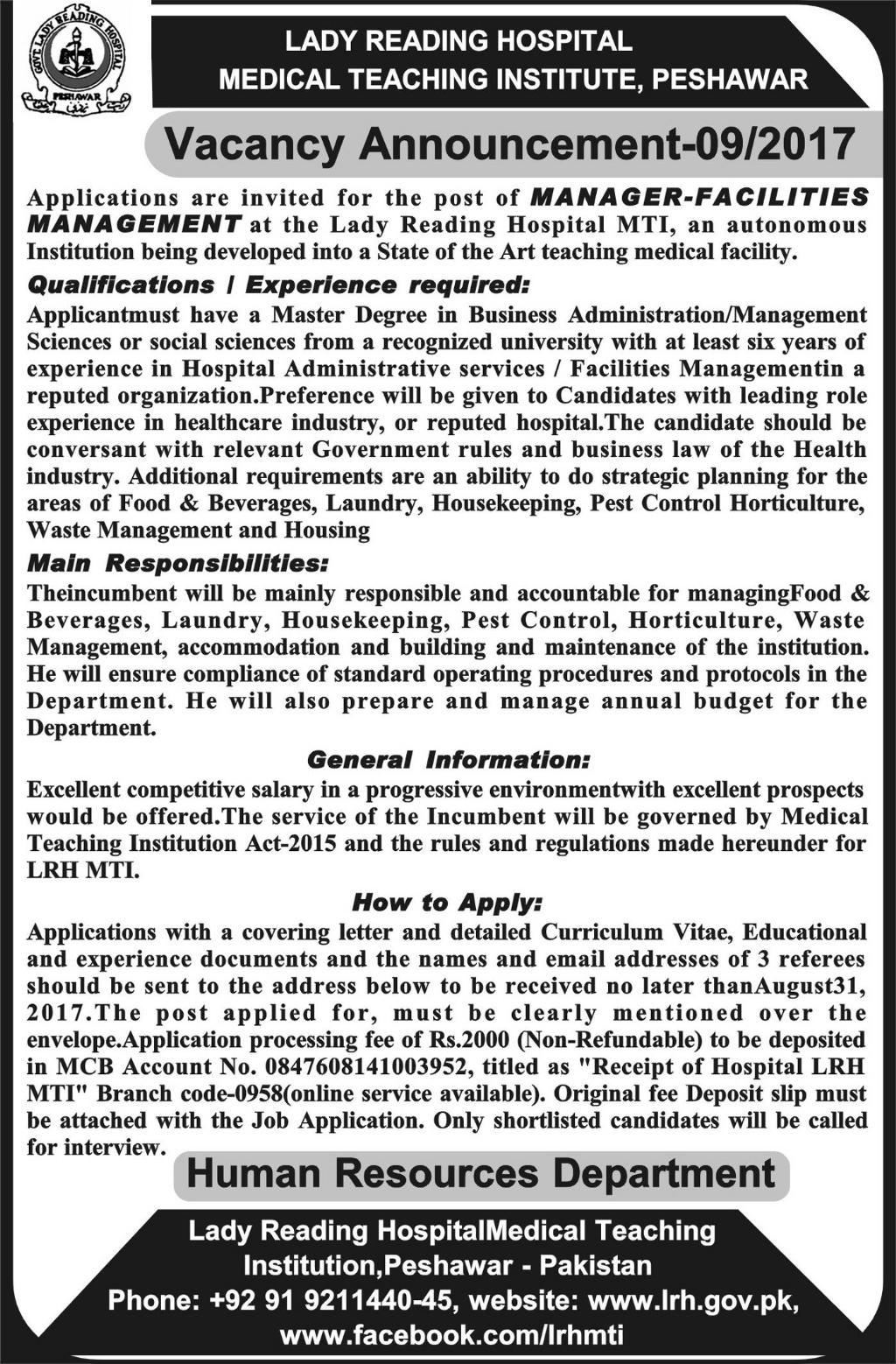 Jobs In Lady Reading Hospital Peshawar Aug 2017