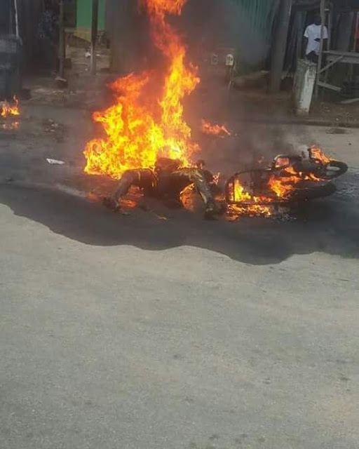 Pregnant petrol black marketer burnt beyond recognition after SUV knocked down her motorcycle in Delta State