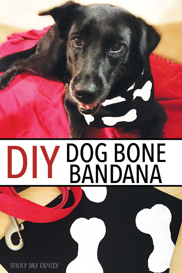 Dress your pup for Halloween or any holiday with this adorable DIY Dog Bone Bandana! A super easy dog DIY project that even kids can make. Really easy and so cute too!