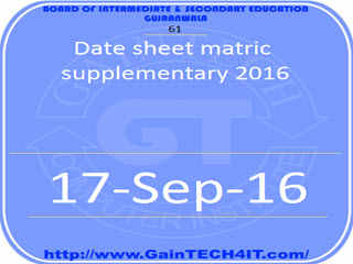 Date sheet matric supplementary 2016