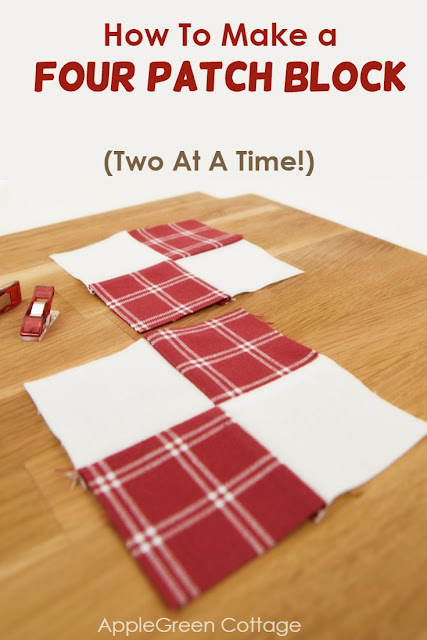 This is what I call the EASIEST way to make a four patch quilt block - two in one go!