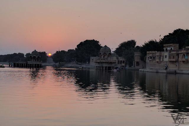 Beautiful sunset from the gadisar lake