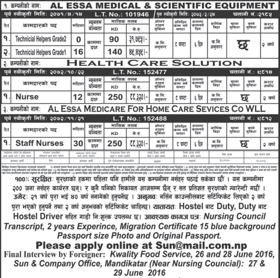 Free Visa, Free Ticket, Jobs For Nepali In Kuwait, Salary -Rs.88,000/