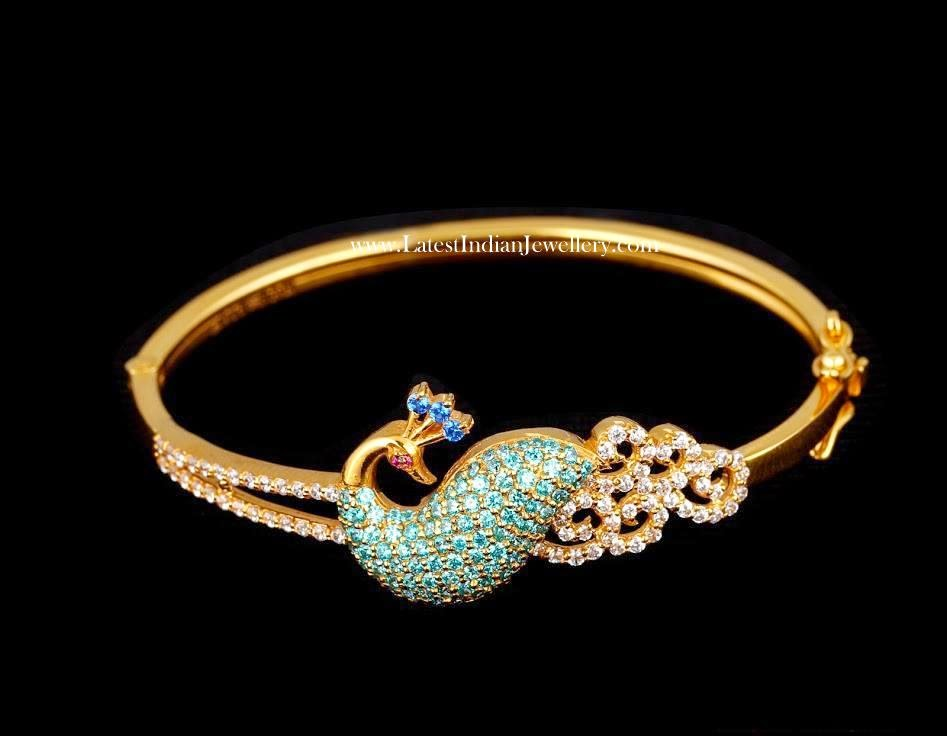 Colorful Peacock Design Gold Bracelet
