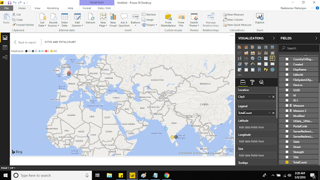 PowerBI showing the SharePoint List Data as Locations on Map Visuaization