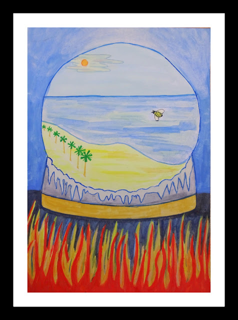 A snow globe with a beach scene inside, and hell below it