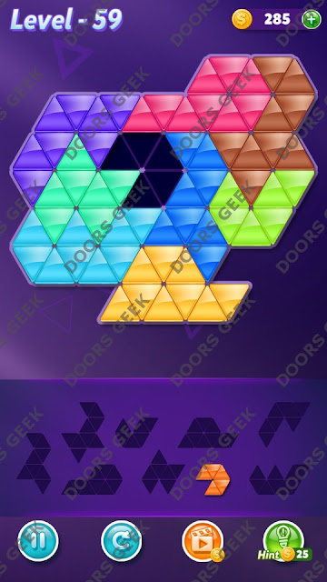 Block! Triangle Puzzle Proficient Level 59 Solution, Cheats, Walkthrough for Android, iPhone, iPad and iPod