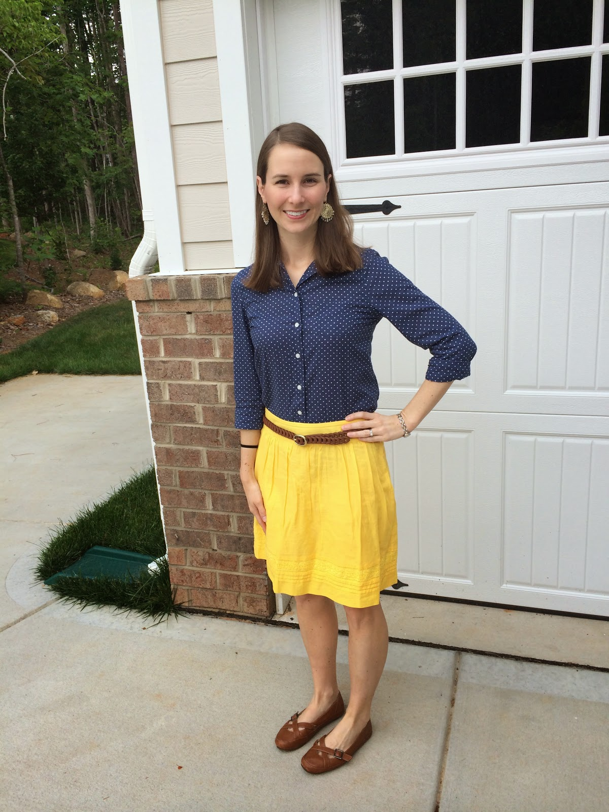 48a75115e2 What I Wore: Yellow Skirt and Dot Buttondown - LaForce Be With You