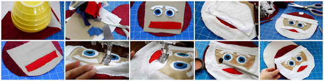 Step-by-step creating a Santa Claus face for stuffed DIY dog toy