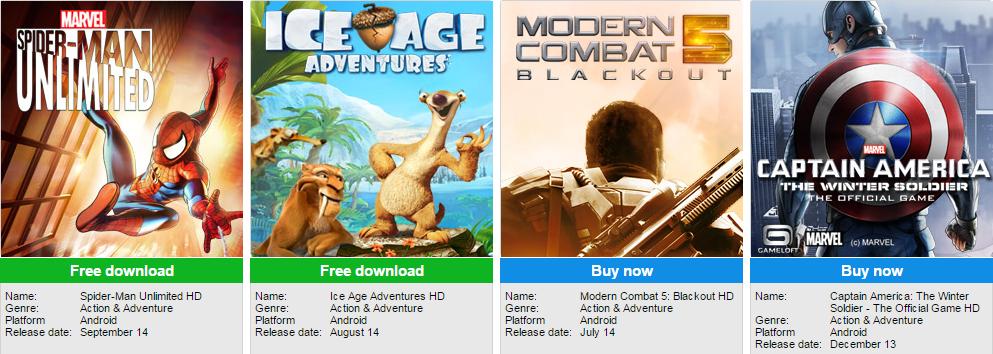 Gameloft java action game