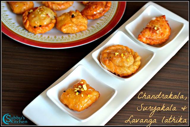 Suryakala, Chandrakala, Lavanga Lathika Recipes