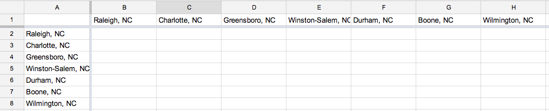 Calculating Distance between two locations in Google Spreadsheet