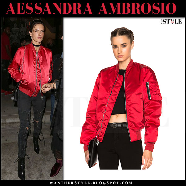 Alessandra Ambrosio in red satin bomber jacket unravel and black lace up jeans made gold what she wore