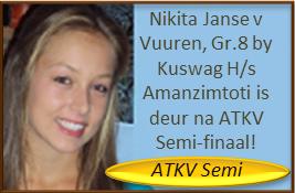 Nikita Janse v Vuuren, Gr.8 by Kuswag H/s Amanzimtoti is deur na ATKV Semi-finaal - en dis nie al nie: Sy kry 'n merkwaardige 100% vir haar onvoorbereide toespraak! Baie geluk met 'n nog 'n uitmuntende redenaarseisoen, Nikita!