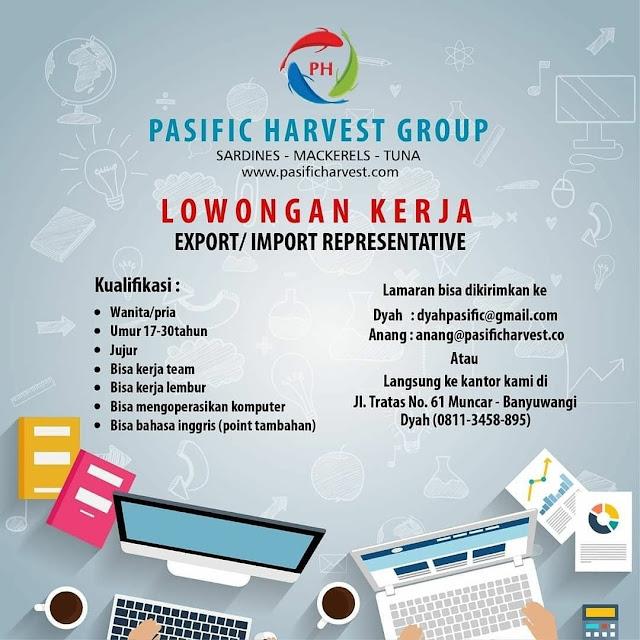 Loker Export Import Representative Pasific Harvest