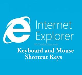 Microsoft Internet Explorer keyboard and Mouse Shortcut Keys