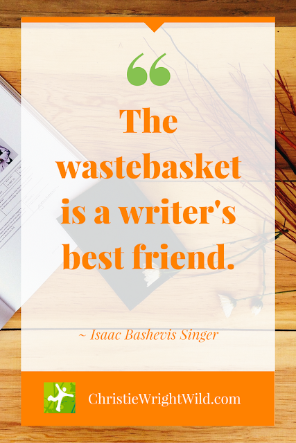 "Image Quote for Writers: ""A wastebasket is a writer's best friend."" Isaac Singer"