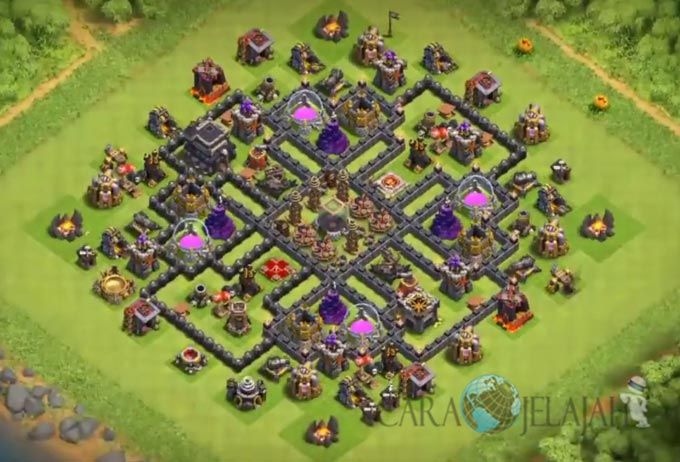Base Farming TH 9 COC Update Bomb Tower Terbaru 2017 Tipe 2