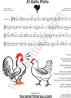 Clarinet Sheet Music for El Gallo Pinto The Painted Rooster Popular Children Music Scores