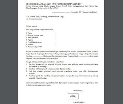 Contoh surat lamaran CPNS Kemenritek