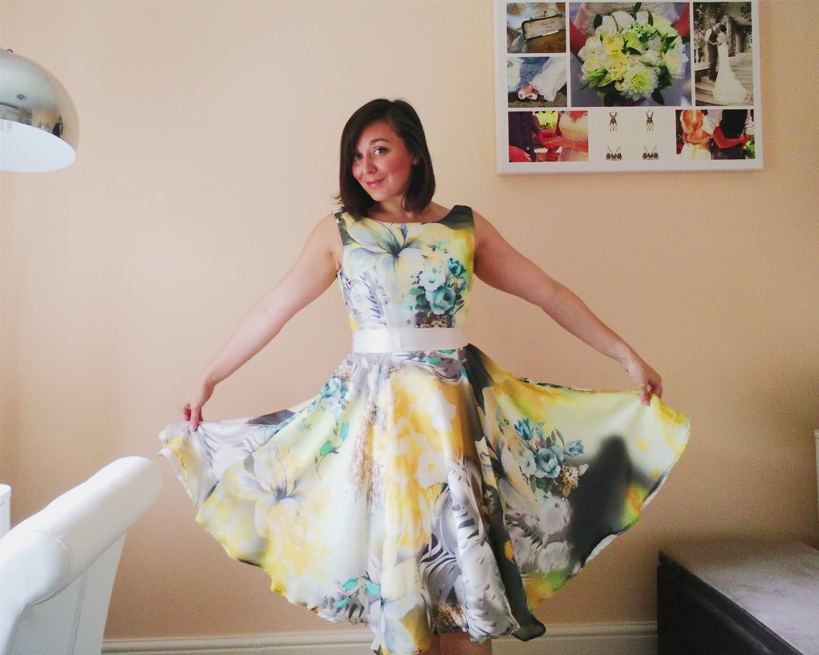 Full circle skirt in chiffon and crepe