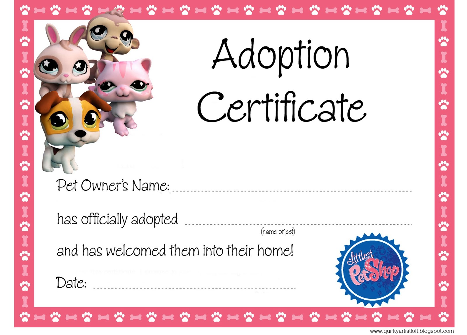 Quirky artist loft littlest pet shop party free for Adoption certificate template
