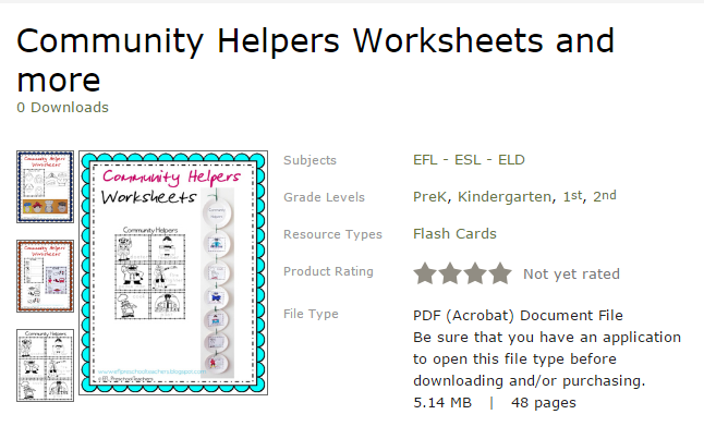 ESL/EFL Preschool Teachers: Community Helpers Worksheets and More