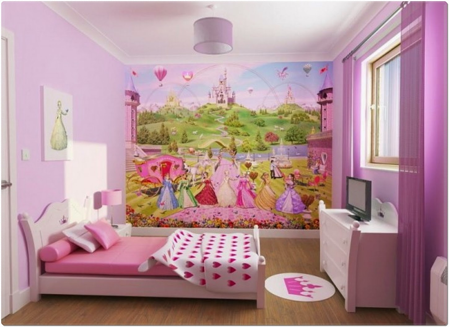 Kids Bedroom The Best Idea Of Little Girl Room With Princess Wallpaper Theme And Polka Dot Blanket Interior Design And Decorating Articles