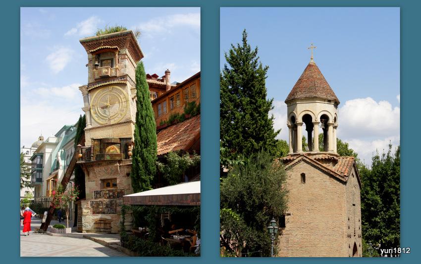 Часовая башня театра Габриадзе, старая колокольня собора Сиони