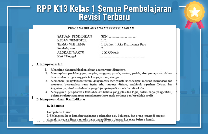 RPP K13 Kelas 1 Semua Pembelajaran Revisi Terbaru