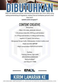 Dibutuhkan Content Creative di ENOL SPS