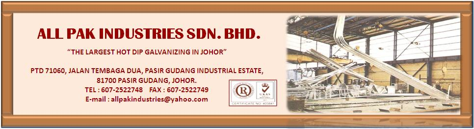 ALL PAK INDUSTRIES SDN  BHD : Hot Dip Galvanizing Services