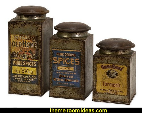 Vintage Label Wood and Metal Canisters primitive americana decorating style - folk art - heartland decor - rustic Americana home decor - Colonial & Country style decorating Americana bedroom designs - Primitive Country Rustic decor