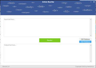 Menulis Ulang Kembali Artikel Dengan Software Article Rewrtier 2.6 by Habibihza