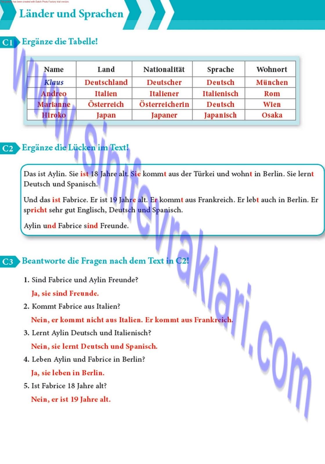9 Sınıf Almanca A11 çalışma Kitabı Cevapları Sayfa 10 Ders
