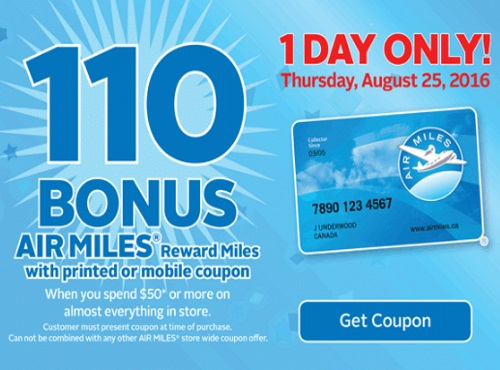 Rexall Pharma Plus 110 Bonus Air Miles Reward Miles Coupon