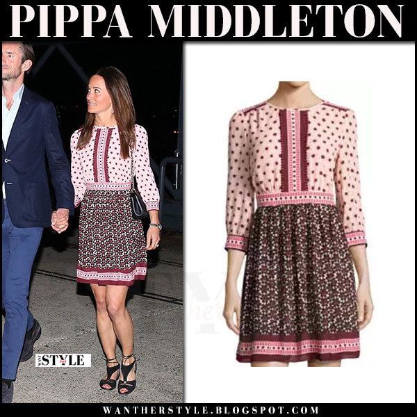Pippa Middleton in burgundy floral print mini dress kate spade and black sandals lk bennett what she wore may 31 2017