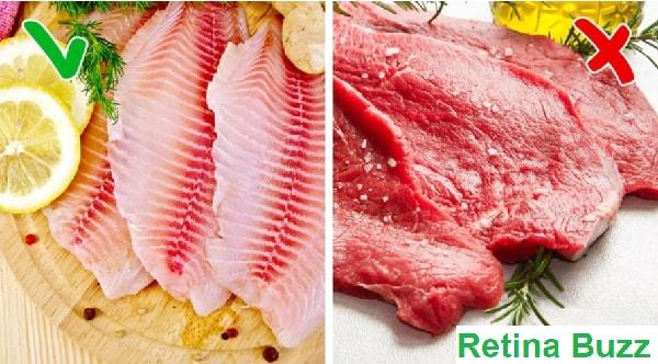 السمك الأبيض مقابل اللحوم الحمراء