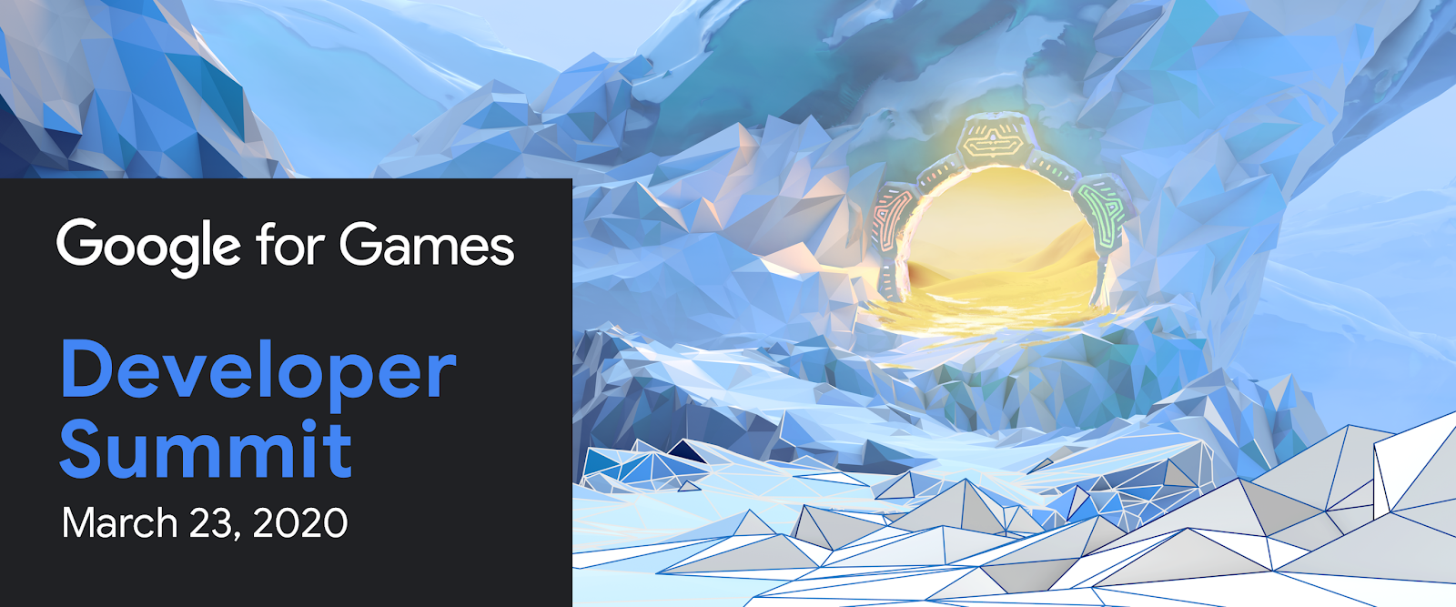 Google for Games Developer Summit banner. Video game background illustration