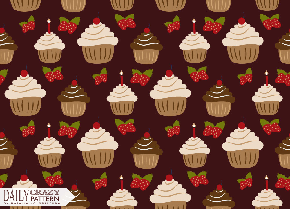 Pattern with cakes