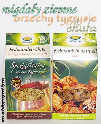 Migdały ziemne i chipsy z migdałów ziemnych z syropem z agawy - Govinda