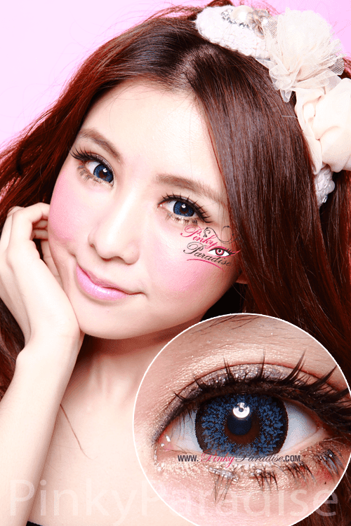 Geo Super Size Nudy Blue Circle Lenses (Colored Contacts)