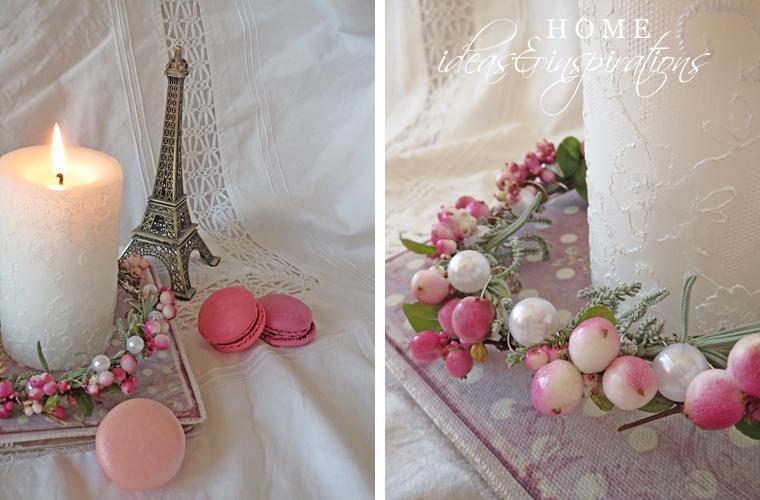 Schöne Tischdekoration mit einem Kranz in Rosa