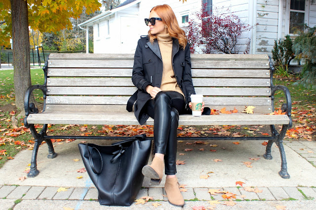 Black and camel fall outfit- turtlenecks and trench coats