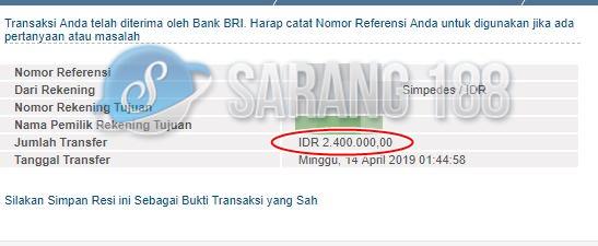 Bukti Transfer Sarang188 Selamat Kepada Member Sarang188 Atas Withdraw Rp 2 400 000
