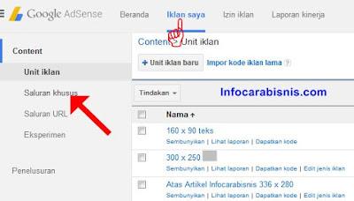 Cara Mudah Membuat Saluran Khusus Iklan  Google Adsense